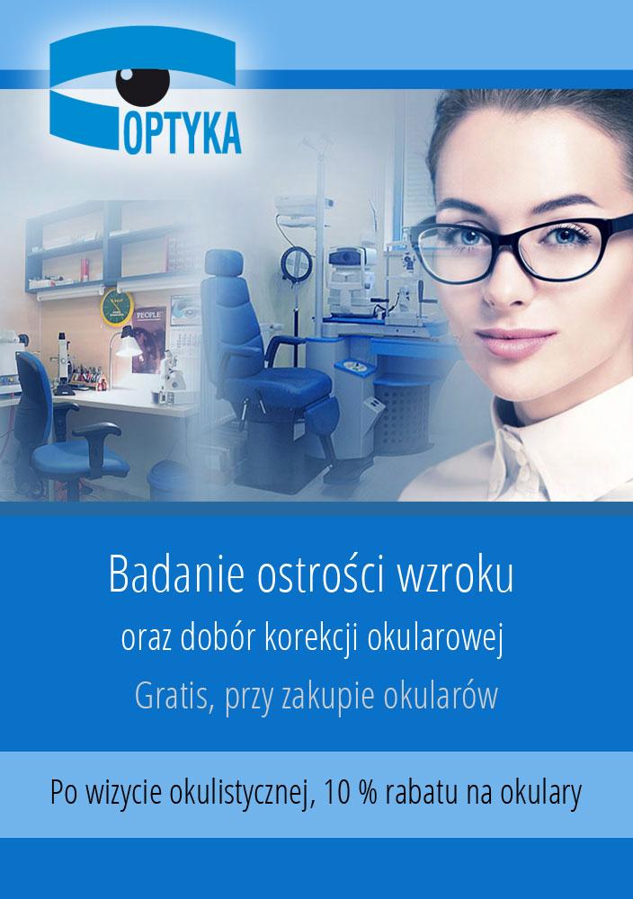 Badanie ostrości wzroku oraz dobór korekcji okularowej – gratis, przy zakupie okularów.